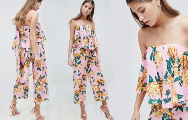 Jumpsuit elegante a fiori con drappeggio