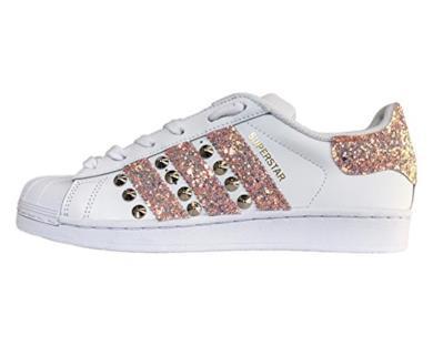 Adidas. Superstar bianche con glitter cipria mixcolor e borchie ... ecceace36c7