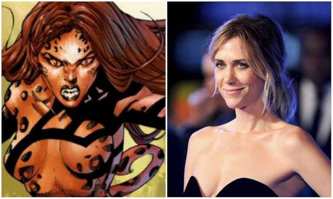 Collage tra Cheetah e Kristen Wiig
