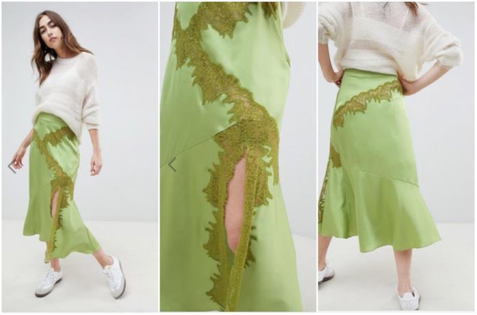 Collage di tre punti di una gonna color lime e ricamata