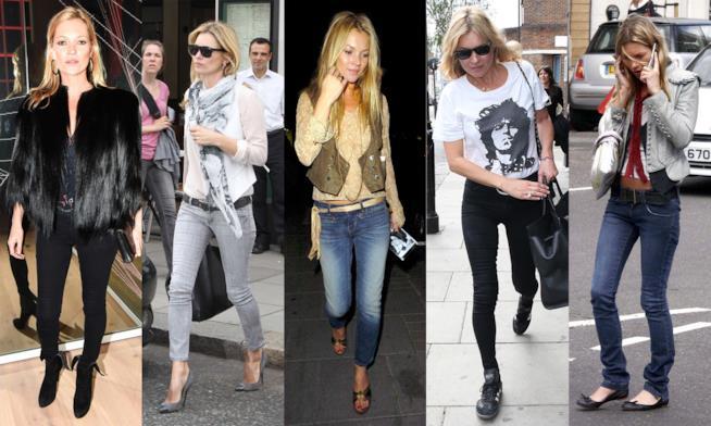 Un collage di Kate Moss in jeans skinny