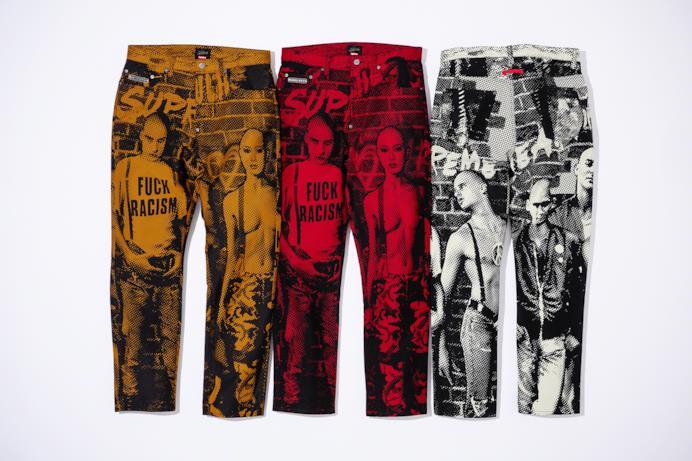 Pantaloni Fuck Racism Jean per Supreme/Gaultier Capsule Collection