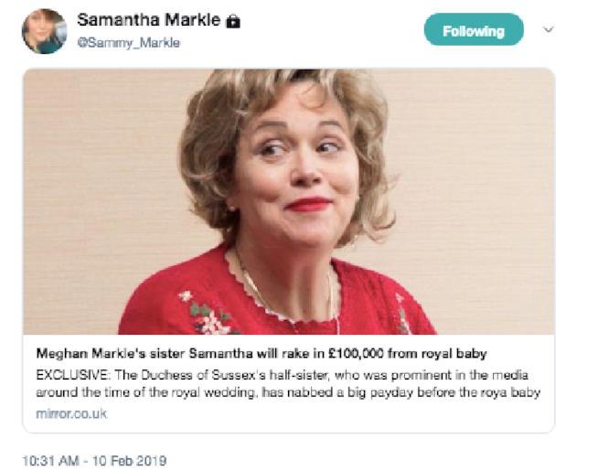 Samantha Markle, tweet