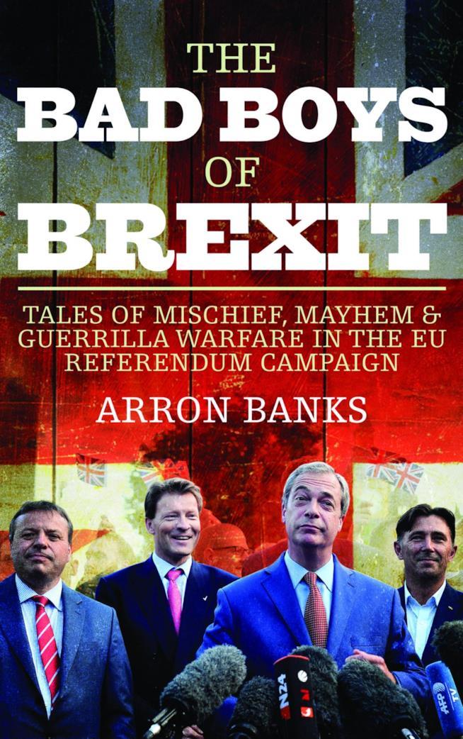 Copertina del libro di Arron Banks con i politici inglesi