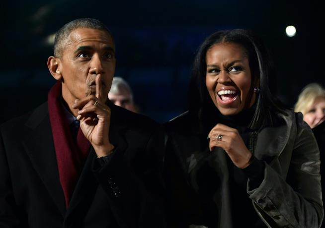 Michelle e Barack Obama in un momento di ilarità
