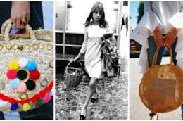 Un collage tra due borse di paglia e Jane Birkin