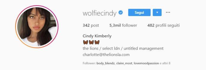 Profilo Instagram Cindy Kimberly