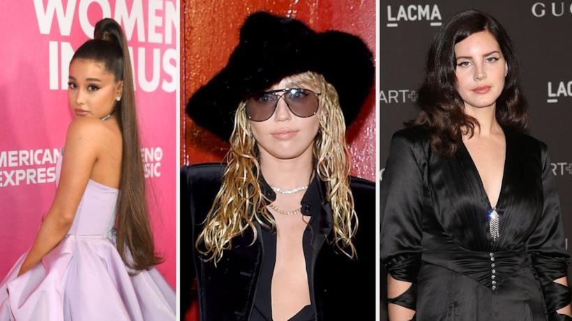 Le cantanti Ariana Grande, Miley Cyrus e Lana Del Rey