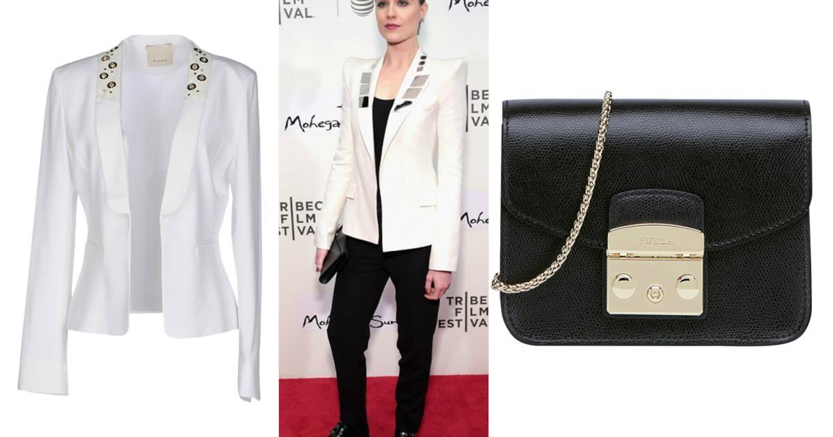 Blazer bianco alla Givenchy con applicazioni: i modelli come quello indossato da Evan Rachel Wood