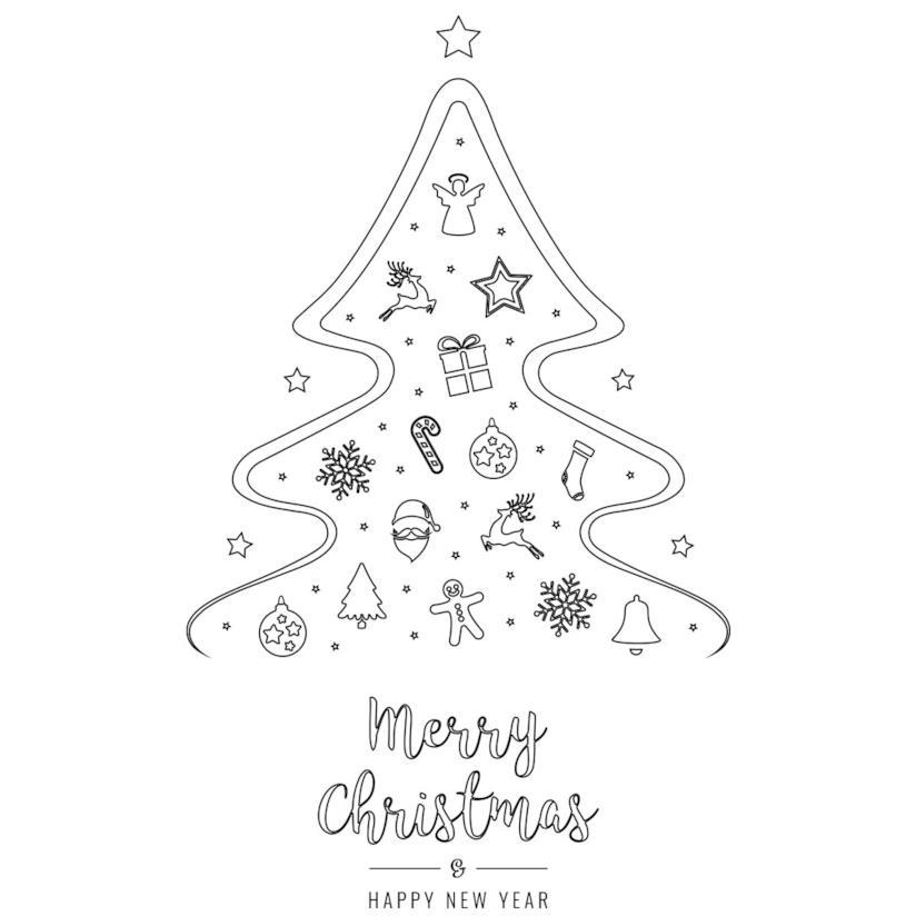 Albero di Natale da scaricare e far colorare ai bambini con gli auguri natalizi