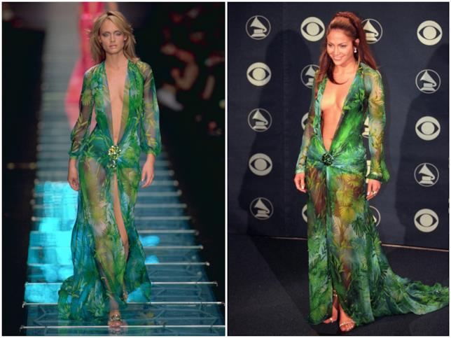 Amber Valletta e Jennifer Lopez con lo stesso abito di Versace