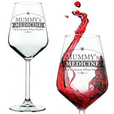 """Calice da vino con scritta """"Mummy's / Daddy's Medicine"""""""