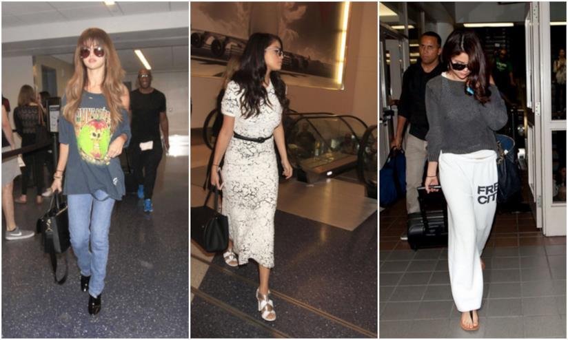 Selena Gomez, tre look all'aeroporto