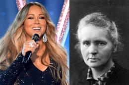 Due foto di Mariah Carey e Marie Curie