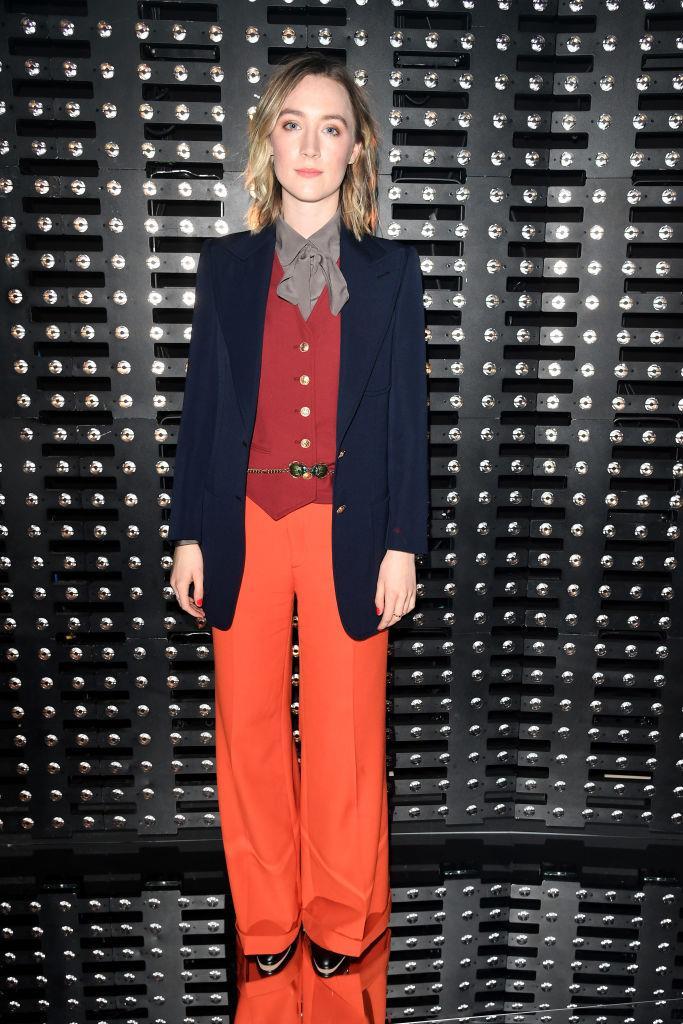 L'attrice Saoirse Ronan alla sfilata di Gucci