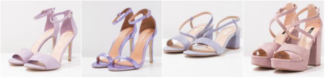 Collage di sandali color lavanda
