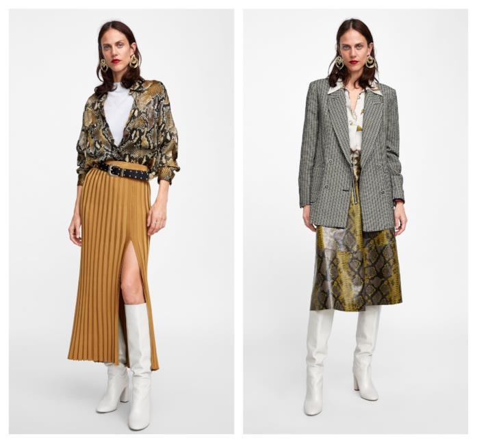 A pieghe e con la stampa pitonata, le gonne lunghe di moda per l'autunno inverno 2018-19
