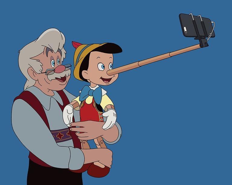 Pinocchio e Geppetto si fanno un selfie