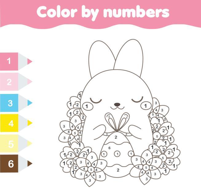 Coniglio con indicazioni di colori da usare