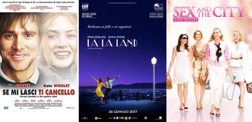 I poster di Se Mi Lasci Ti Cancello, La La Land e Sex and The City