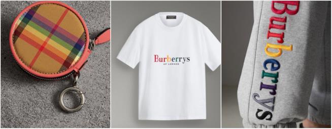 Collage di elementi della linea Burberry Rainbow