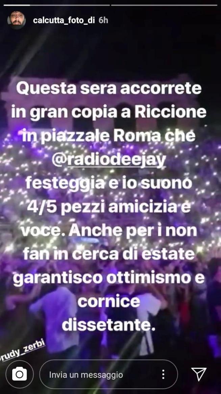 Calcutta, annuncio concerto Riccione