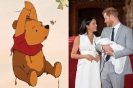 Un'immagine di Winnie the Pooh e una dei dichi di sussex col figlio archie