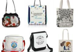 Collage di borse con citazioni