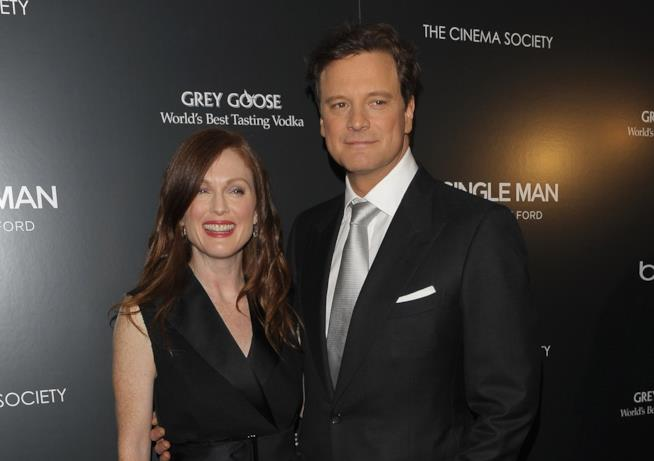 Gli attori Colin Firth e Julianne Moore a una prima
