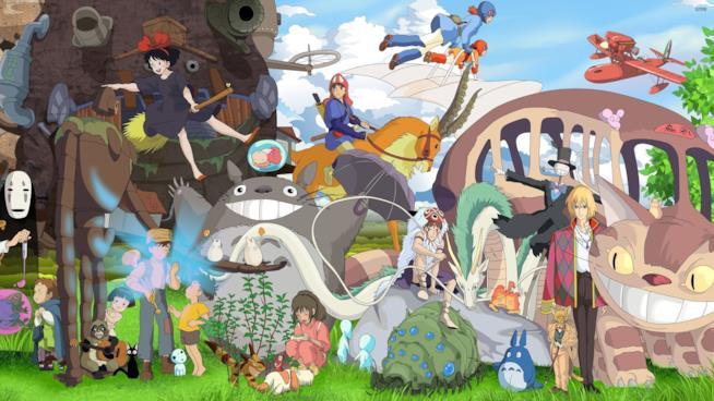 Una composizione dei personaggi dei film di Hayao MIyazaki