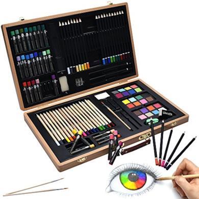 Artina Set pittura e disegno Genova - 89 accessori assortiti: valigetta di legno, matite, colori a cera, acquerelli ecc.
