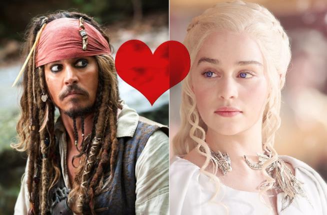 Daenerys e Jack Sparrow in un'ipotetica relazione amorosa