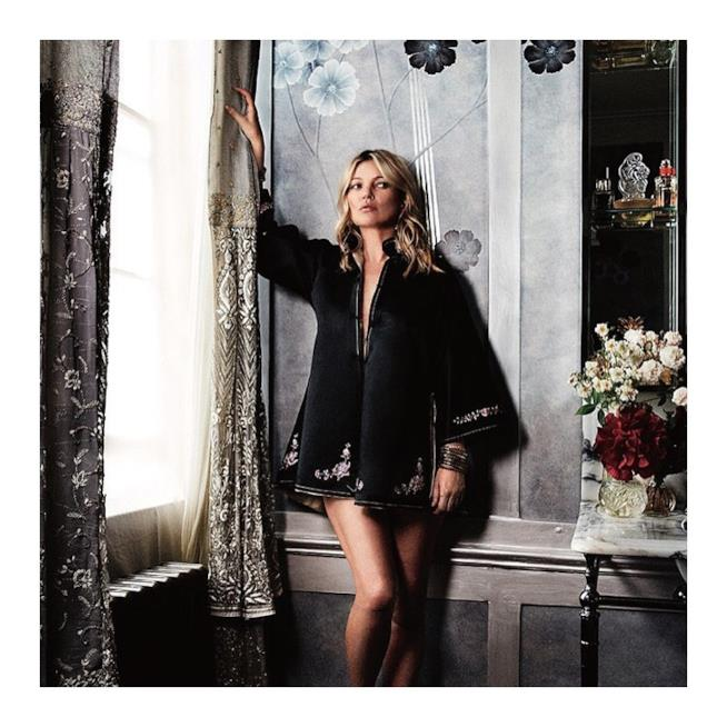 Kate Moss fotografata nella sua casa di Londra