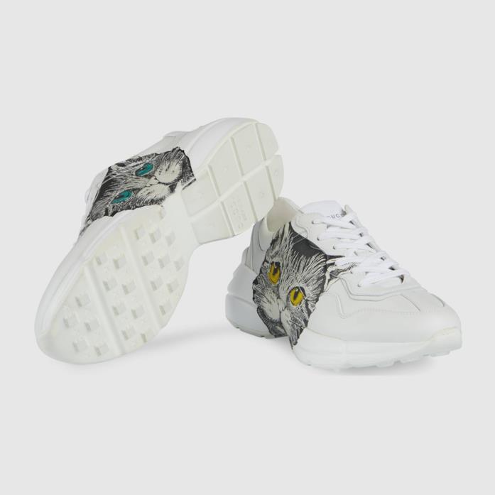 Sneakers in pelle bianca stampa Mystic Cat