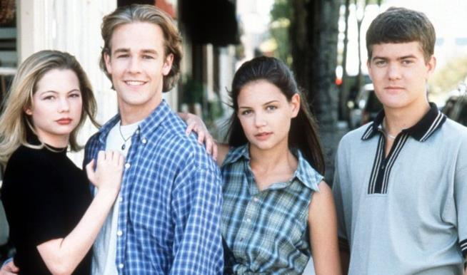 Michelle Williams, Katie Holmes, Josh Jackson e James Van Der Beek in posa per Dawson's Creek