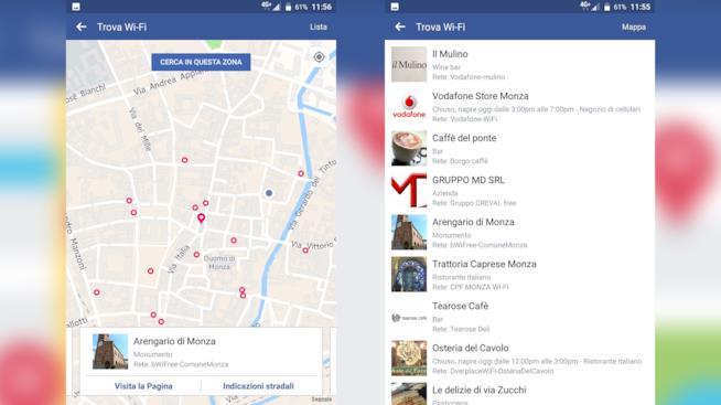 Schermata dell'app di Facebook