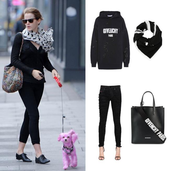 Look di Emma Watson che porta a spasso il cane