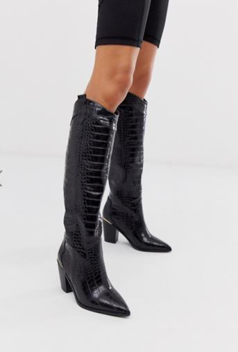 Catch Up - Stivali western al ginocchio neri effetto coccodrillo
