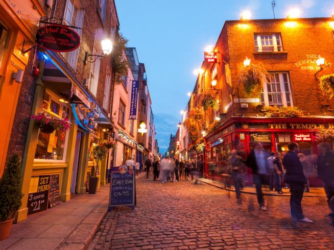 visione sul quartiere Temple Bar a Dublino