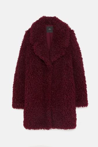 Cappotto pelliccia sintetica bordeaux
