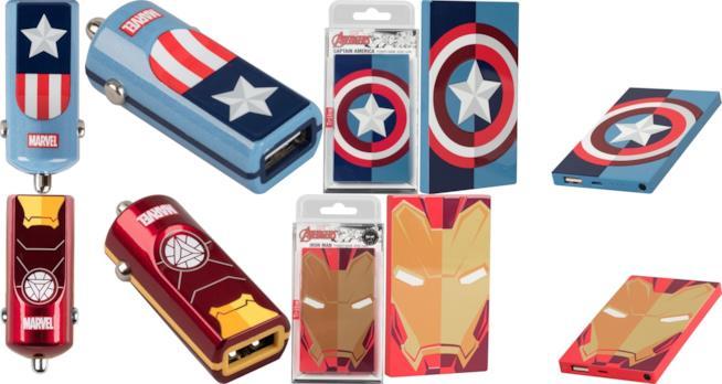 Caricabatterie da auto e powerbank di Tribe decorati con i simboli di  Iron Man e Captain America