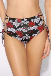 Bikini Slip Vita Alta con Incroci Laterali Floral Sound