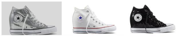 Tre modelli di Converse All Star con zeppa interna