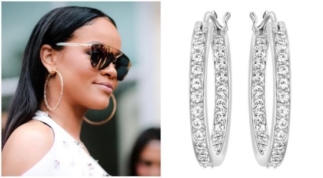 Orecchini a cerchio di Rihanna e Swarovski