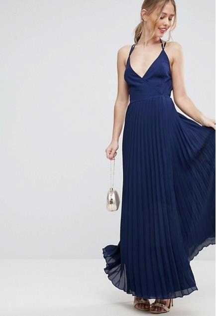 Abito da sera blu con gonna plissettata ASOS. Abito da cerimonia per  matrimonio di sera 8fd13c0fd3a