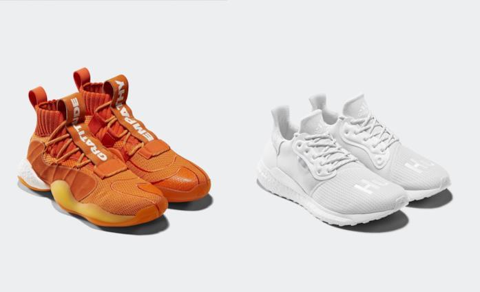 Due modelli delle scarpe create da Pharrell Williams con Adidas