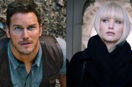 Chris Pratt e Jennifer Lawrence in primo piano nei rispettivi film Jurassic World e Red Sparrow