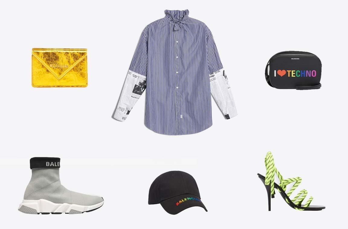 Selezione di capi fra scarpe, camicia, cappello e bag Balenciaga