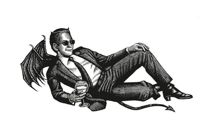 Una illustrazione di un demone col completo ed un bicchiere di vino