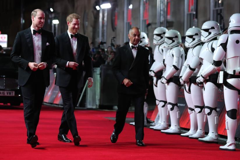 Harry e William sul red carpet del film Star Wars: Gli ultimi Jedi